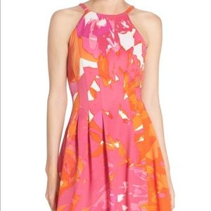 Vince Camuto Abstract Pink/Orange Fit &Flare Dress